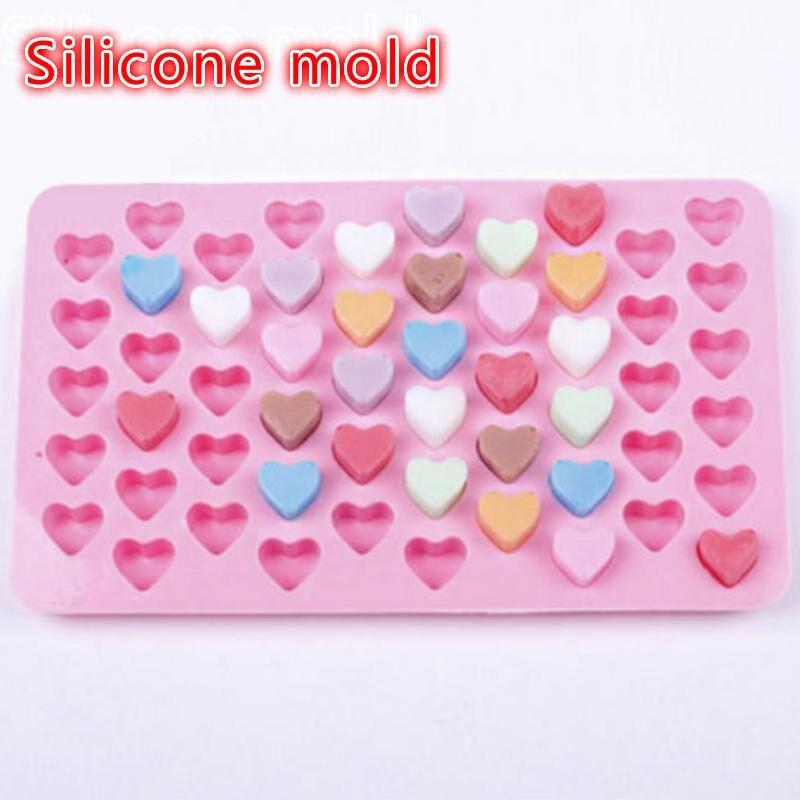 55 rejillas Rosa cubito de hielo forma de corazón de molde de silicona suave pasteles Chocolate galletas bandeja cocina hogar hornear accesorios de cocina