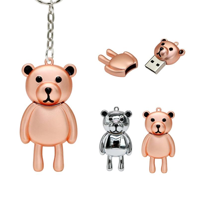 USB Flash Drive Memory Stick Metal Bear Pendrive 4GB 64gb 16GB 8GB 32gb 128GB Pen drive cle usb 2.0 Creative Gift With Key Ring