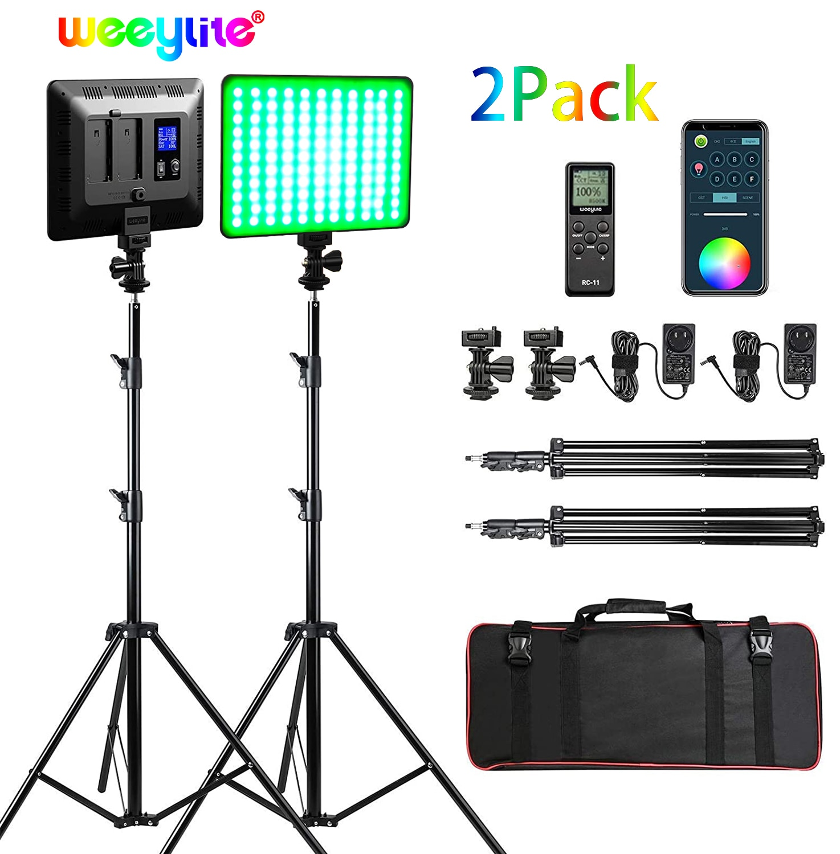 Weeylite sprite20 2 قطعة RGB LED الفيديو الضوئي التصوير الفيديو الضوئي طقم الإضاءة مع APP/التحكم عن بعد 2 قطعة Led لوحة Leam مع حامل