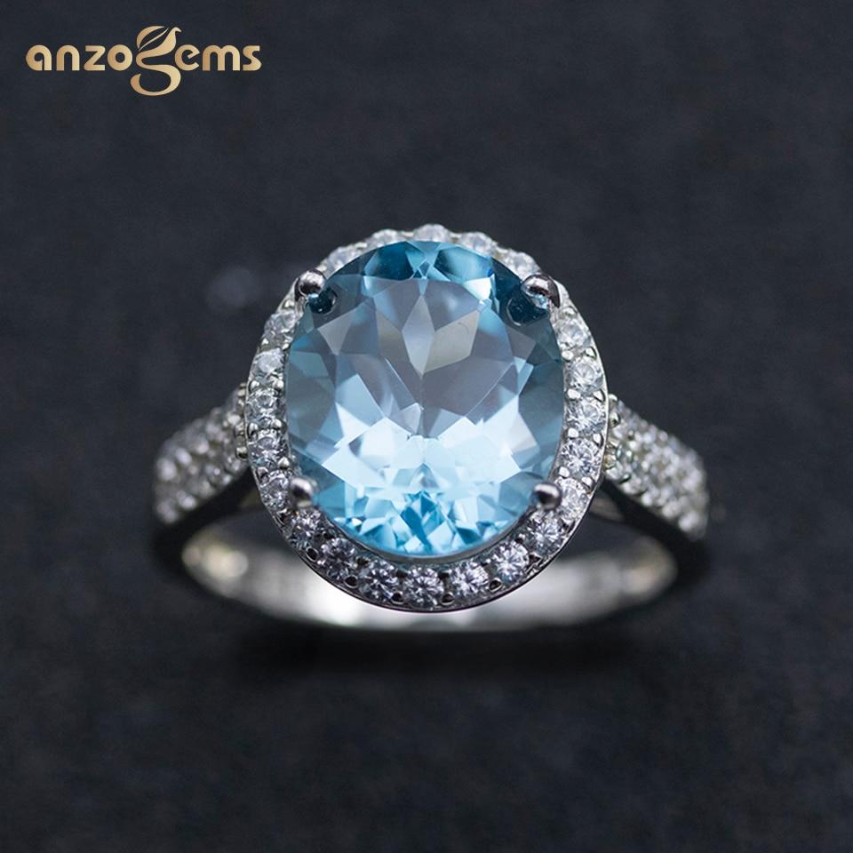 Anzogems الطبيعية السماء الزرقاء توباز خاتم 925 فضة البيضاوي 12*10 مللي متر الأحجار الكريمة غرامة مجوهرات للنساء عيد الأم الزفاف جديد