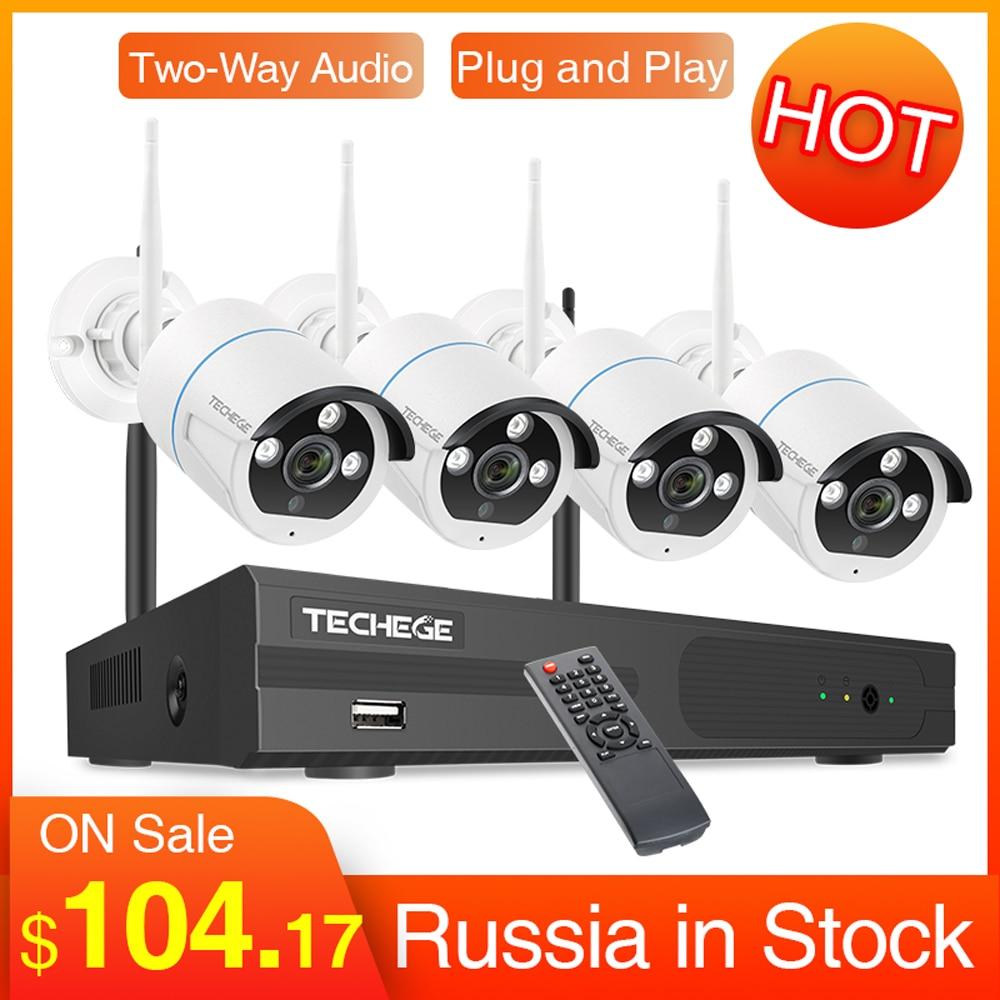 Sistema de grabación de Audio Techege CCTV inalámbrico 1080P 2MP 4CH NVR impermeable al aire libre WIFI CCTV sistema de cámara Kit de videovigilancia