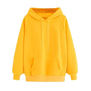 2020 new ladies casual solid color hooded pocket long sleeve pullover sweatshirt blouse