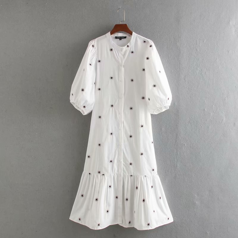Camisa midi vintage e chique bordado, camisa feminina bordada e plissada, manga lanterna, ds3436, 2020