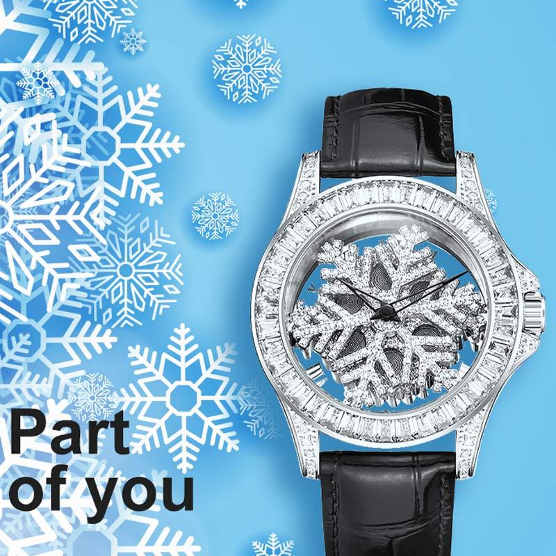 Neue Große Wahl Weiblichen Uhr Schneeflocke Diamant quarzuhr Frauen Lederband Armband Uhren Wasserdichte Platin Uhr damen