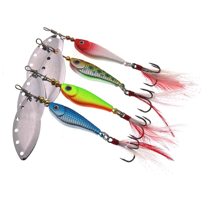 1 pçs spinner colher de metal isca de pesca 13g 16g lantejoulas crankbait colher iscas artificiais wobbler rotativa isca com ganchos agudos