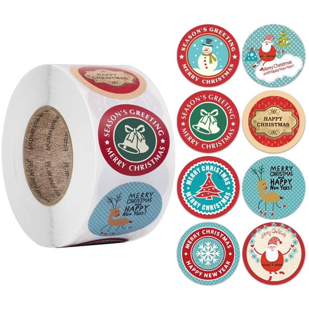 500 obrigado você etiqueta de vedação adesivos feliz natal kraft pacote caixa cartão etiqueta artesanal santa decoração do casamento festa suprimentos