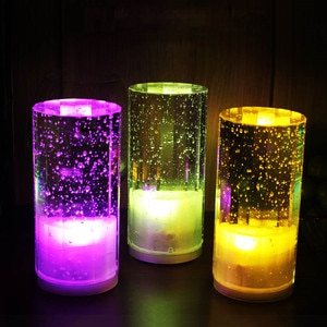 Rechargeable Table Lamp Creative Colored Crystal LED Night Light Romantic Bedside Bar KTV Cafe Restaurant Atmosphere Lights