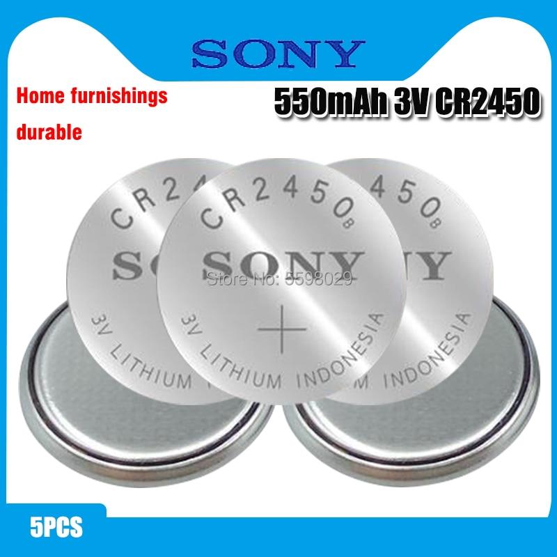 5 uds Original SONY CR2450 pila de botón 3V baterías de litio CR 2450 para reloj de juguete remoto, calculadora de Control