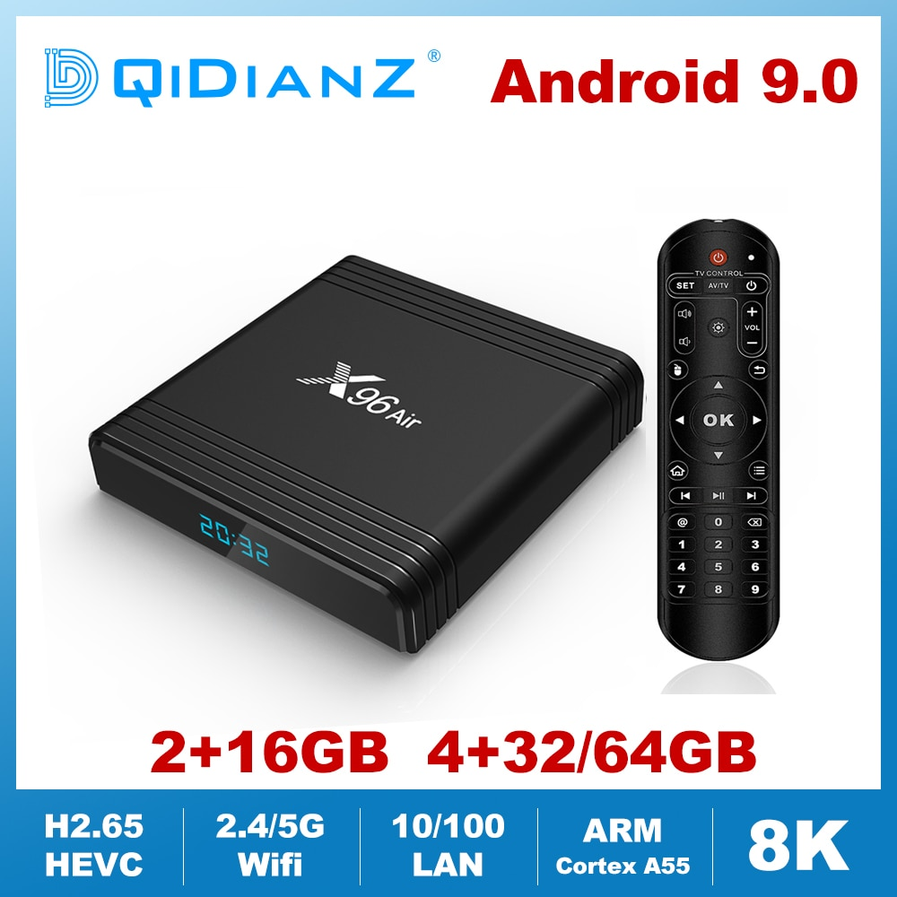 X96AIR Android 9,0 Mini TV BOX Amlogic S905X3 Quad Core 2,4G/5G voz por Wifi de 8K HDR Media Player receptor inteligente X96air