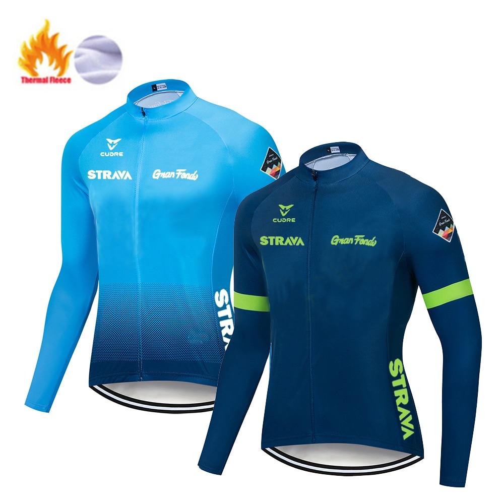 STRAVA зима 2020 профессиональная Теплая Флисовая Велоспорт Джерси мужская одежда