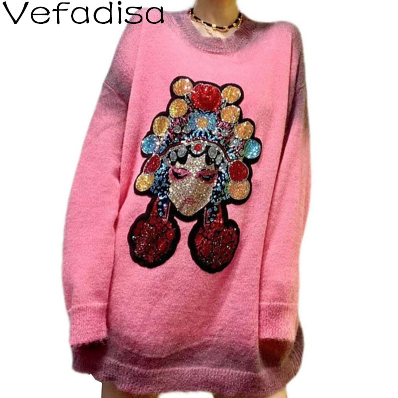 Vefadisa الماس حرف طباعة سترة المرأة 2021 الخريف موضة الإناث البلوز محبوك معطف حجم كبير الوردي رمادي QYF6294