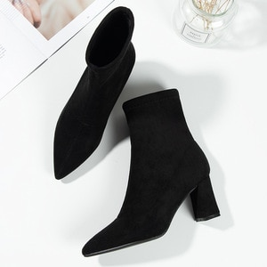 Boots Woman 2019 High-heeled Shoes Increase Down High With Boots Sharp Coarse With Short Boots Woman Small Code Woman Boots