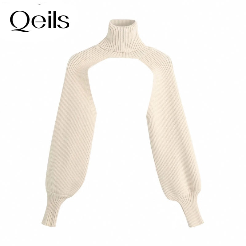 Qeils New Women Turtleneck Collar Long sleeve Knitting Sweater Femme Chic design Casual Pullovers Hi