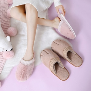 Autumn Winter Cartoon Warm Cotton Slippers For Men And Women Indoor Home Cute Cat Claw Non-Slip Breathable Couple Plush Slippers