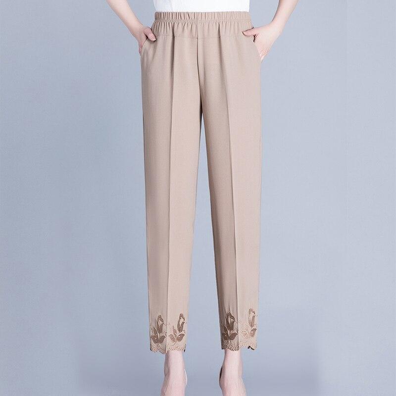 Женские свободные брюки с эластичным поясом, повседневные однотонные тонкие прямые брюки большого размера 6XL с карманами для женщин средне...