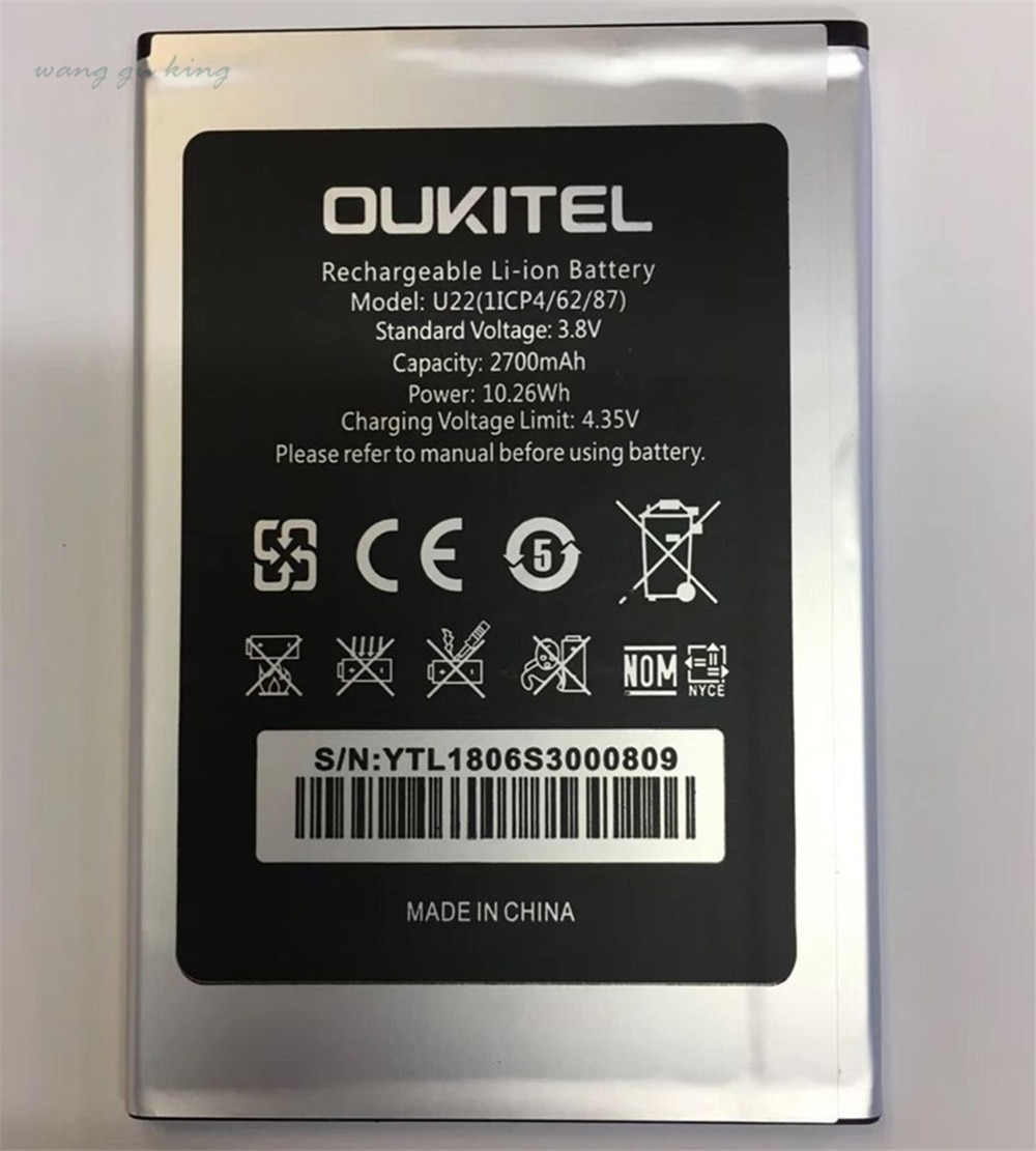 100% Original new Oukitel U22 Battery 2700mAh Backup Battery Replacement For Oukitel U22 Mobile Phon
