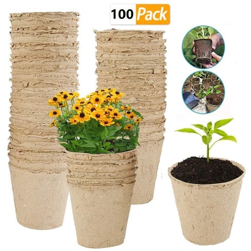 100 Uds maceta de vivero s Biodegradable de papel pulpa Peat Pot planta vivero taza bandeja maceta de vivero bolsa en maceta cultivo de plantas