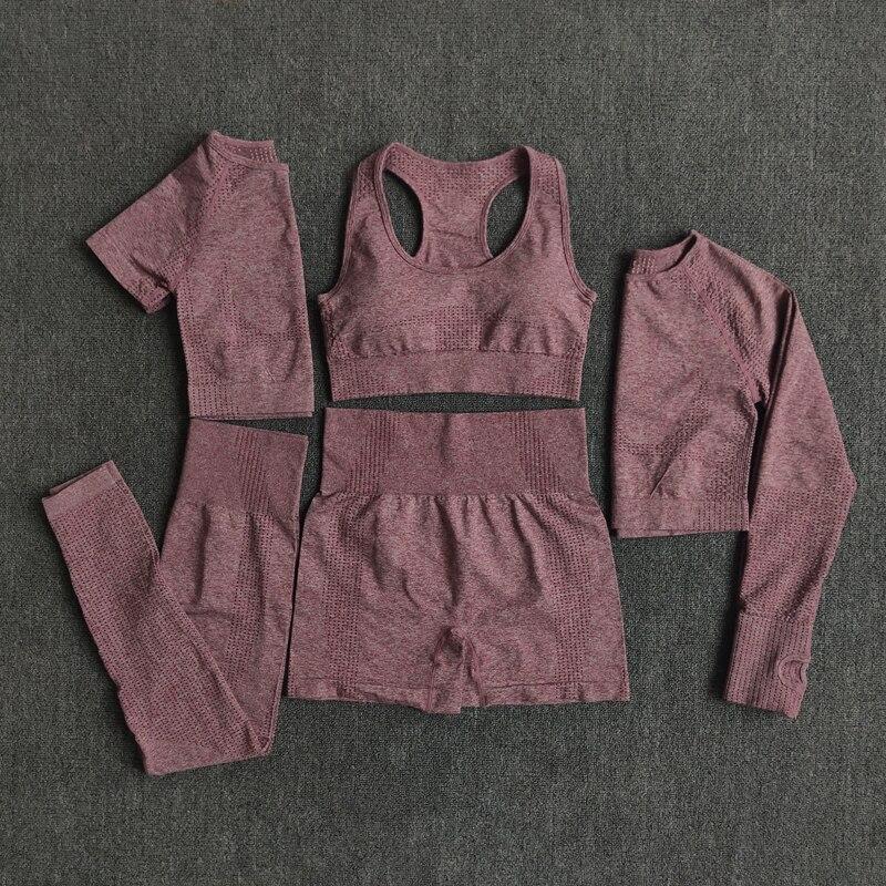 2/3/5PCS Seamless Women Yoga Set Workout Sportswear Gym Clothing Fitness Long Sleeve Crop Top High Waist Leggings Sports Suits