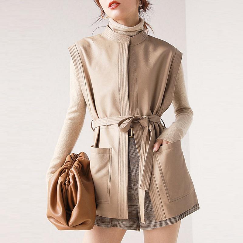 Кожаный жилет из овчины, женский классический дизайн, однотонный, на шнуровке, с карманами, без рукавов, пальто, 2 цвета, повседневный жилет, н...