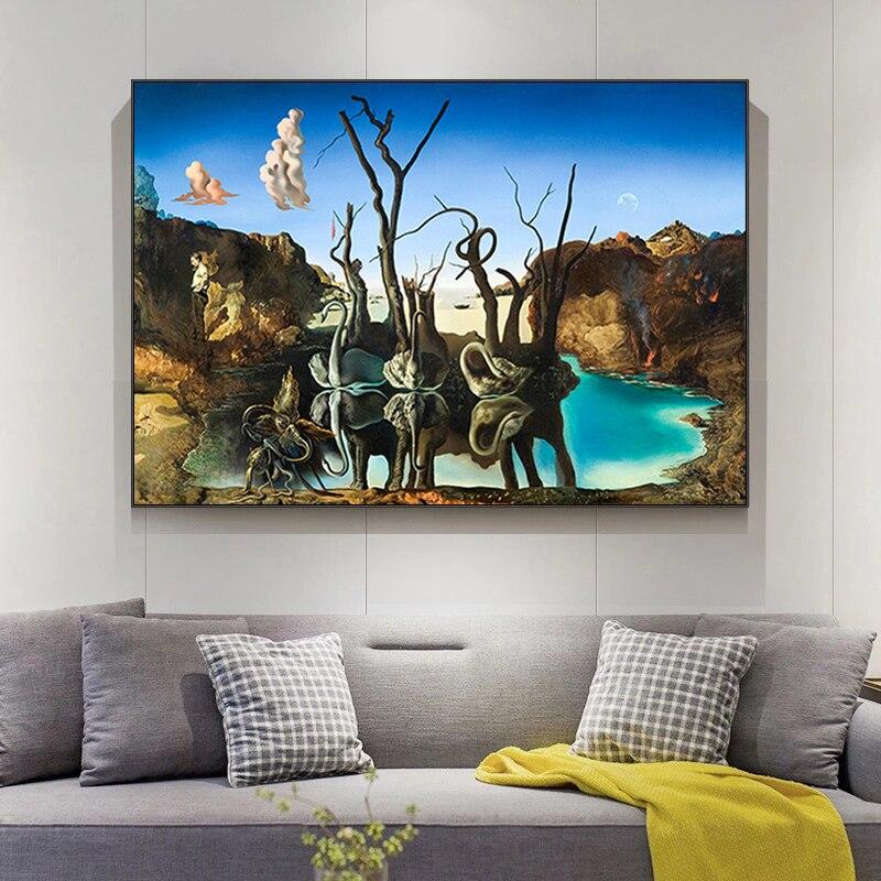 Salvador dali cisnes refletindo elefantes pintura em tela abstrata posters e cuadros impressão arte da parede imagem sala de estar decoração