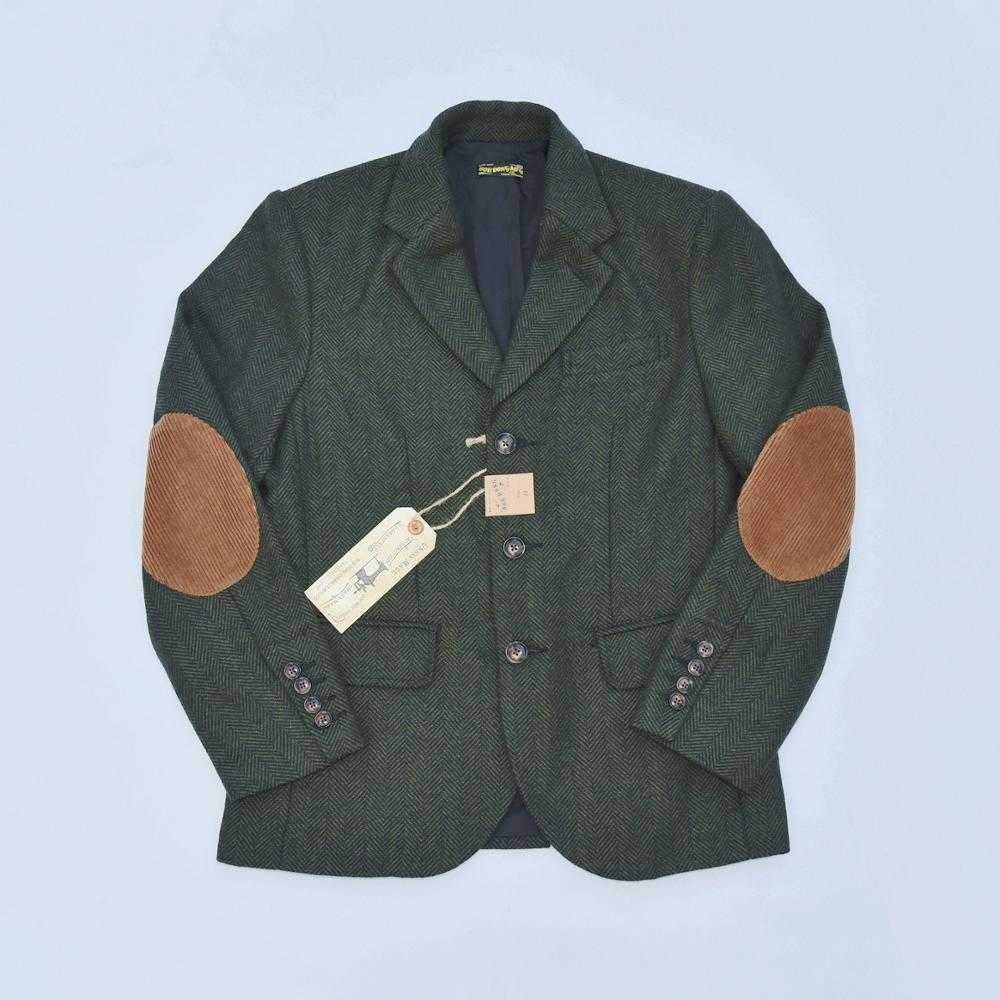 ريترو دونغ بوب نمط تويد سترة معطف الرجال متعرجة الصوف معطف رياضي أخضر