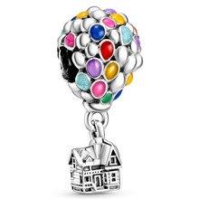 New 925 Sterling Silver Bead Charm Rainbow Enamel Up House & Balloons Pendant Beads Fit Pandora Bracelet Bangle Diy Jewelry