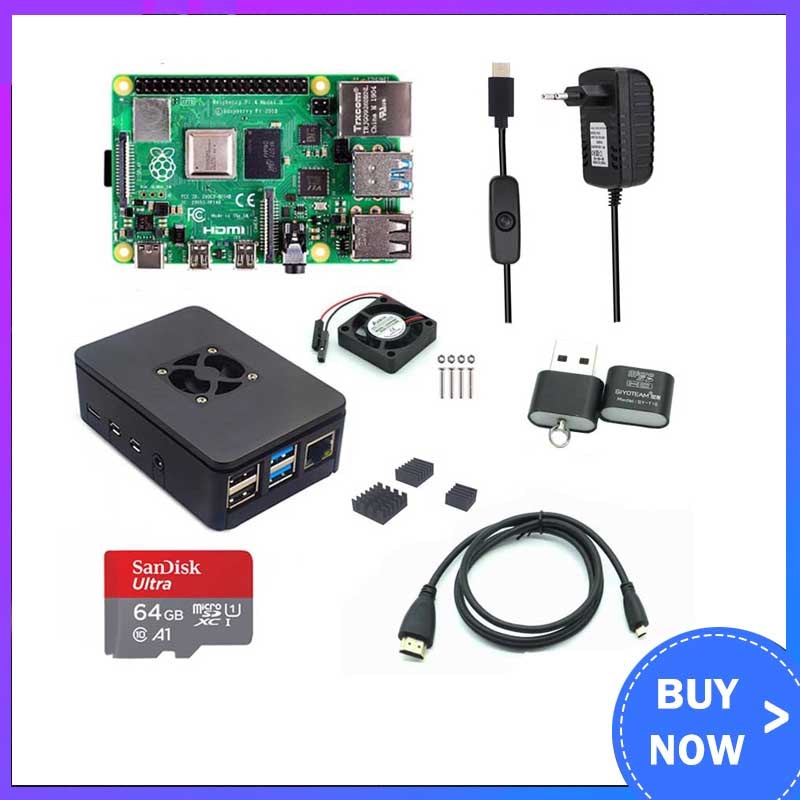Raspberry Pi 4 Modelo B 1/2/4GB RAM + funda + ventilador + disipador de calor + adaptador de corriente + tarjeta SD de 32/64 GB + Cable HDMI para RPI 4B