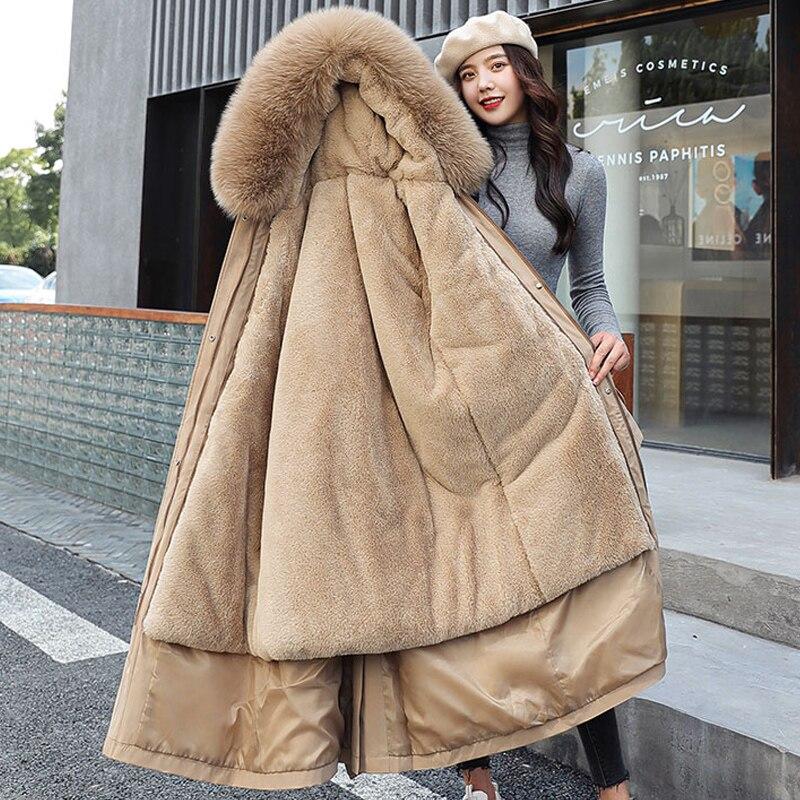 Женская длинная парка на шерстяной подкладке, однотонная Повседневная Толстая куртка с меховым воротником и капюшоном, зимний сезон 2021