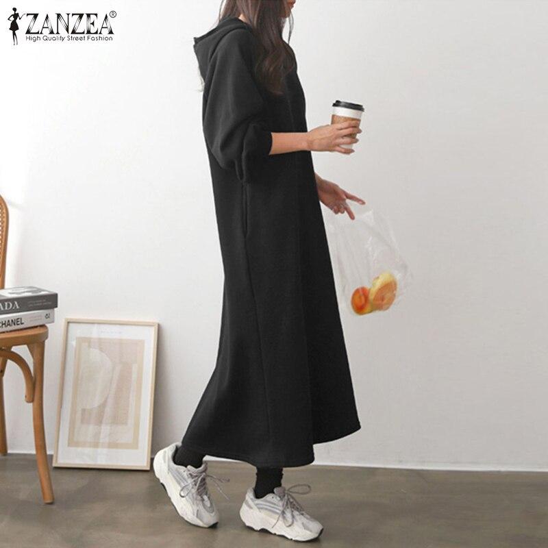 Fashion Sweatshirt Dress ZANZEA Women Autumn Hooded Long Sleeve Sundress Solid Pullover Vestidos Casual Loose Hoodies Dresses