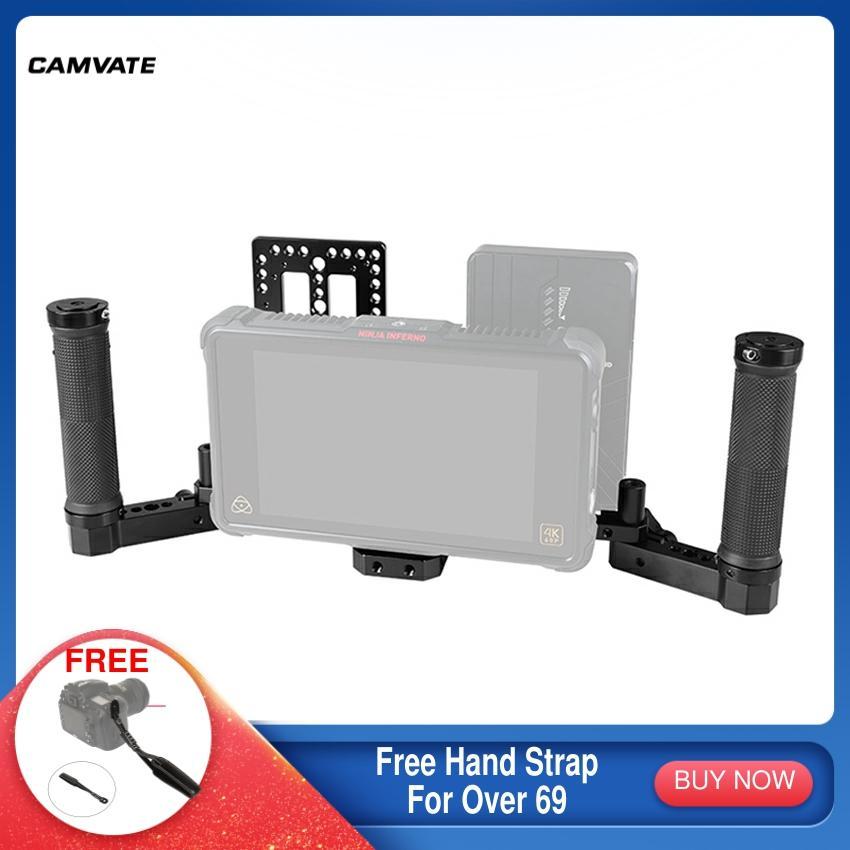 CAMVATE المدير رصد قفص تزوير مع المزدوج مقبض قبضة و قابل للتعديل الرقبة الكتف حزام و بطارية لوحة ل على كاميرا مراقبة