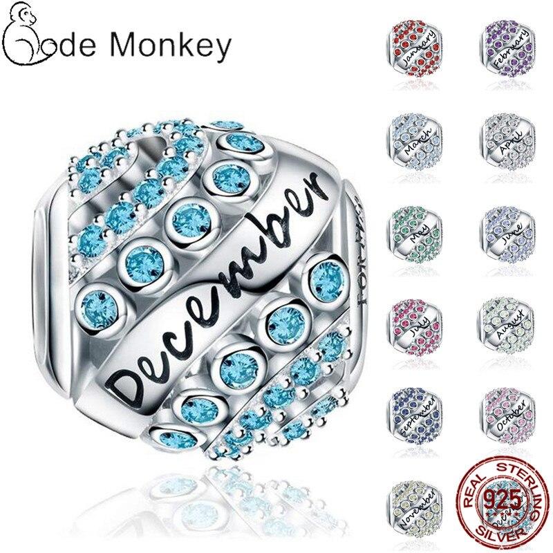 100% אמיתי 925 סטרלינג כסף 12 סגנון אבן המזל Fit מקורי פנדורה צמיד & צמיד לנשים יום הולדת תכשיטים מתנה