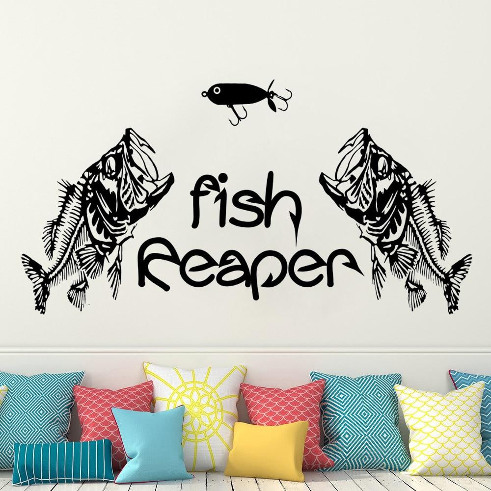 Lindo dos peces comer pescado pared foto cartel Vinilos decorative Reaper tres...