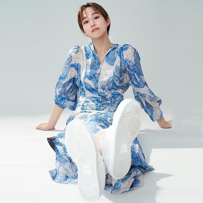Fashion High Quality Summer 2020 New Women'S Party Casual Sexy Vintage Elegant Chic Slim Lapel Print Midi Chiffon Dress