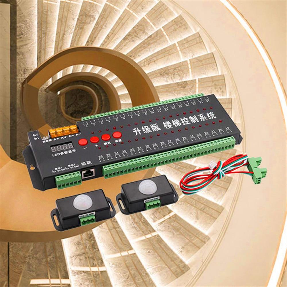 الدرج ضوء الاستشعار تحكم 36 قناة 2 في 1 تشغيل وخطوة الحركة ضوء الليل 12 فولت 24 فولت بكسل LED قطاع الدرج مصباح