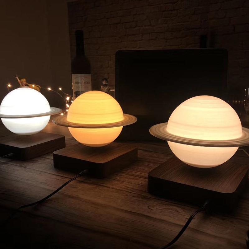 Creative 3D Magnetic Levitation Moon Lamp Saturn Night Light Rotating Led Luna Floating Lamp Home Decoration Living room Bedroom enlarge