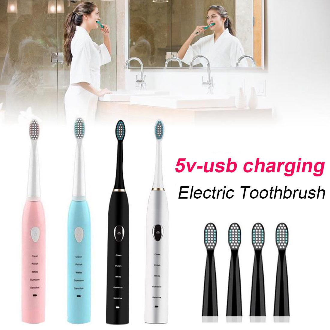 Ultrasonic for Sonic Electric Toothbrush USB Rechargeable Tooth Brush set IPX-7 Washable Whitening Teeth Brush Adult Timer