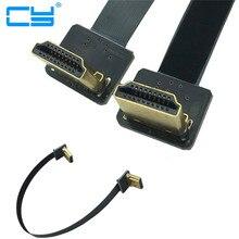FPV HDMI männlichen 90 grad Nach Unten zu HDMI männlichen 90 grad Nach Unten Adapter 5cm-100cm FPC Band flache HDMI Kabel Pitch 20pin Stecker Stecker