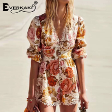 Everkaki Boho Women Mini Dress Floral Print Vestidos Lace Patchwork Sashes Ladies Short Dresses Female 2020 Spring Summer New
