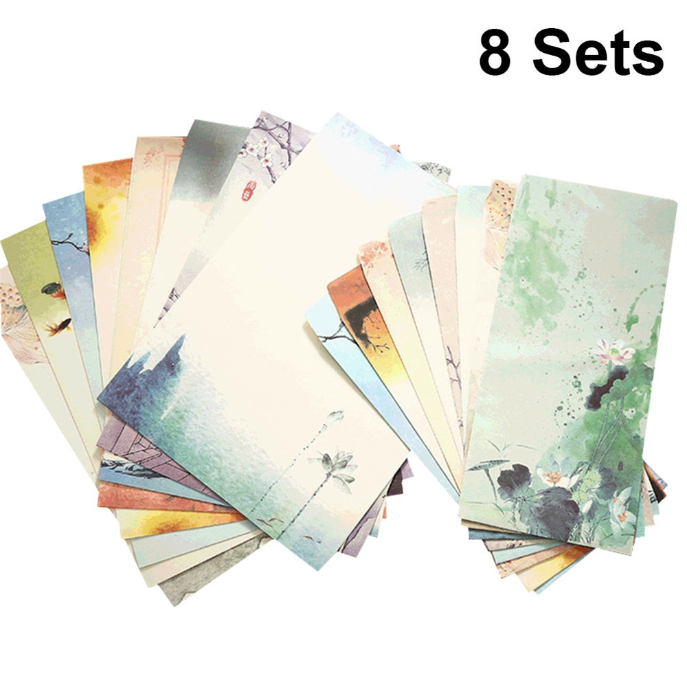 8 Sets Chinese Style Printing Envelope and Letter Set Papers Beautiful Pattern Envelopes Writing Stationery Envelope Set Random