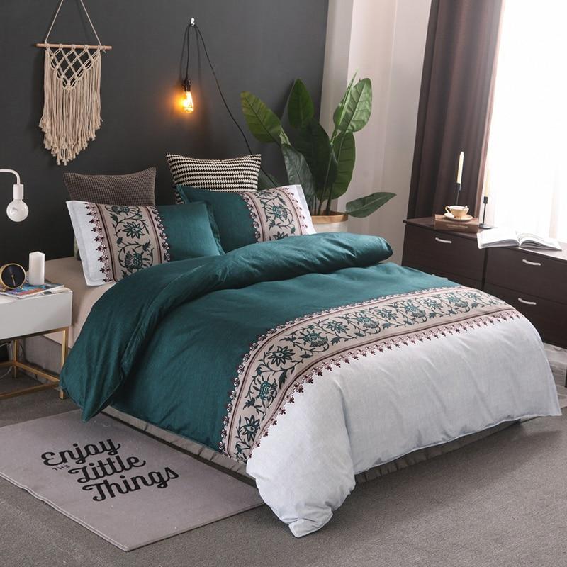 JUSTCHIC Simple cama conjunto edredón funda de almohada fibra Superfina Super suave transpirable edredón funda orquídea campana impresión