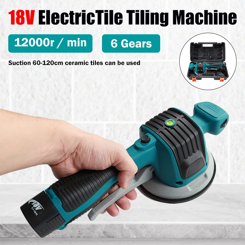 Electric Tile Tiling Machine 18V Strong Suction Tiles Vibrator For Floor Laying Of 120x120cm Tiles 6 Gear With 2 Lithium Battery