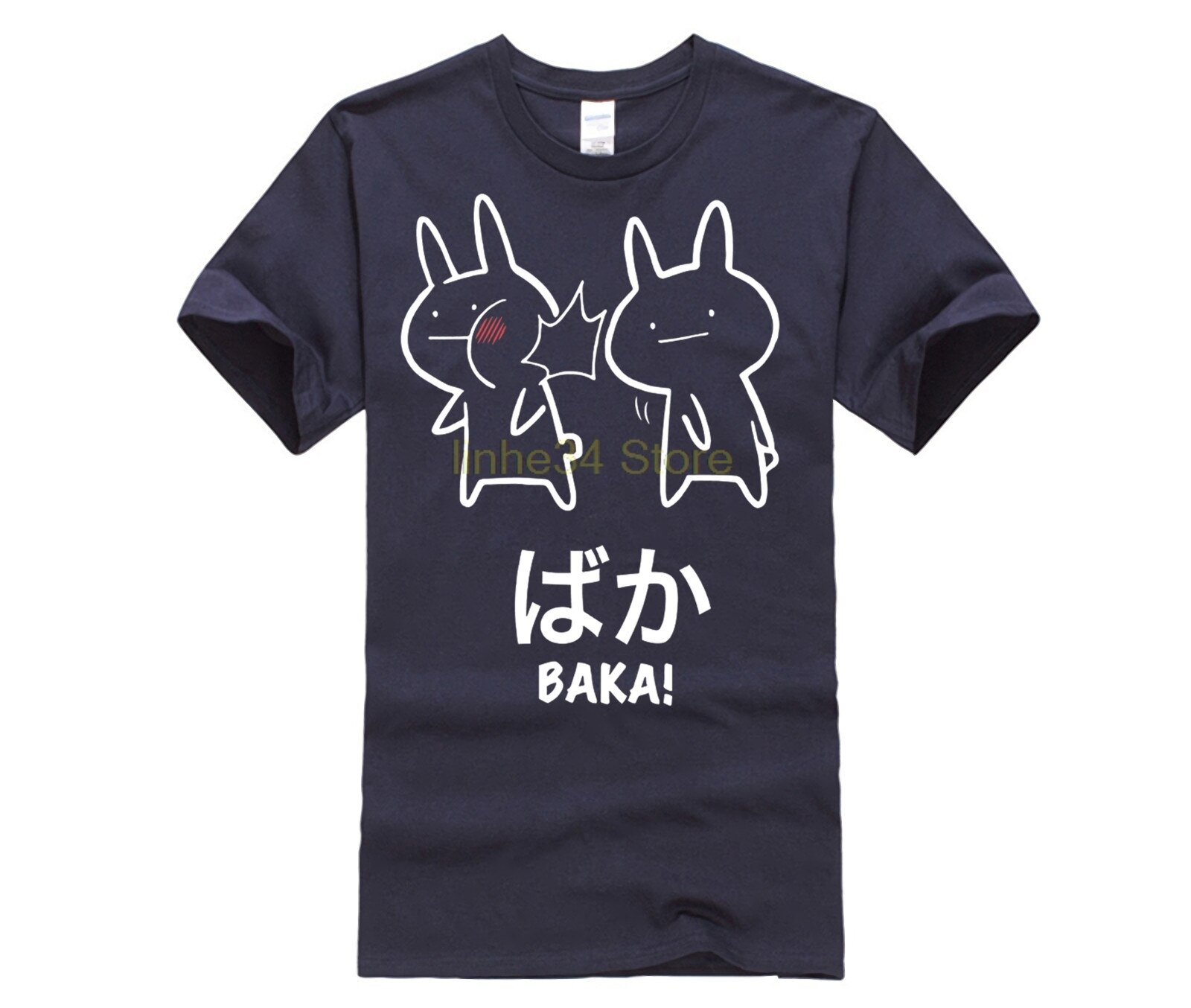 Divertido Anime Baka conejo Slap Shirt-Baka japonés Tee novedad Cool tapas hombres Camiseta de manga corta Camiseta