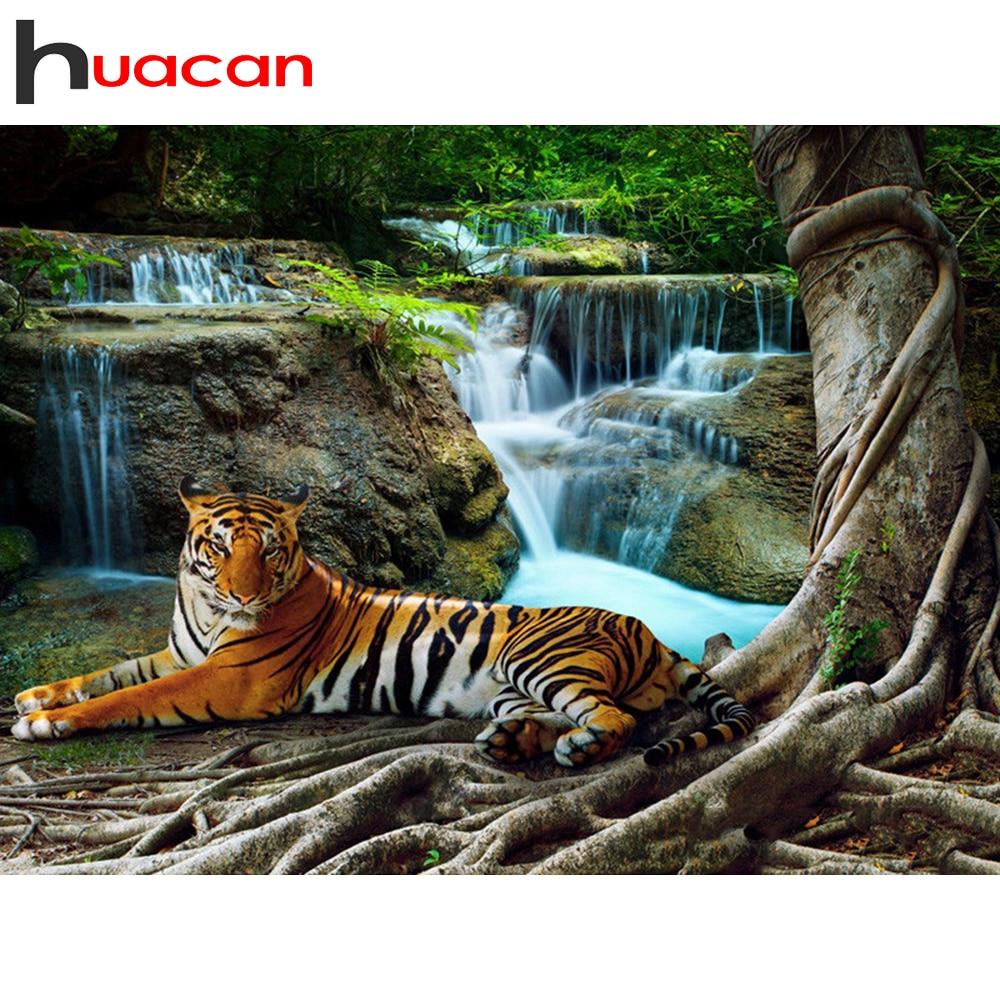 Huacan 5d diamentowe malowanie tygrys zwierząt nowości pełny kwadrat/okrągły diamentowy haft wodospad rękodzieło dekoracje ścienne
