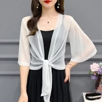 3524 mesh see through women tops summer jacket women cardigan kimono jacket half sleeve thin sexy short jacket sunscreen coat