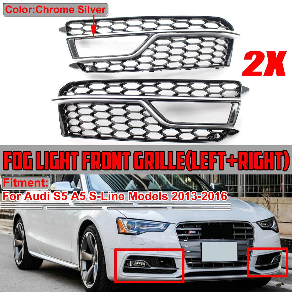 2 uds, parachoques de malla de nido de abeja para coche, cubierta de luz antiniebla para parrilla de panal, cubierta para Audi S5 A5 s-lines, parachoques 2013-2016 8T0807681M