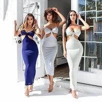 summer women strap halter hollow out backless patchwork slim long dresses boho maxi dress sexy elegant party dress beach wear