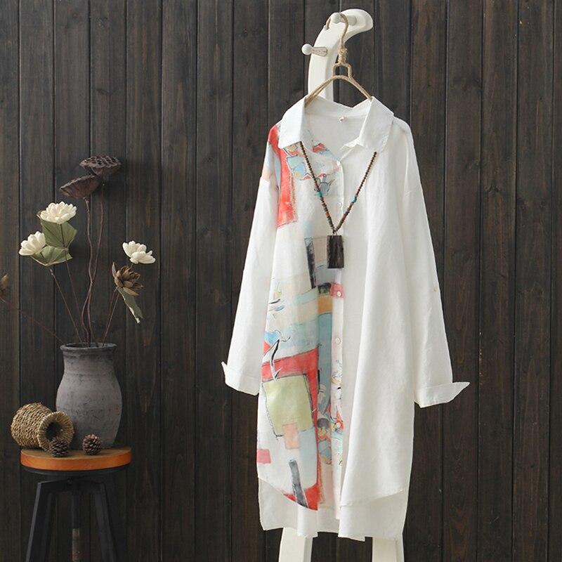 2019 летние новые длинные винтажные женские блузки и футболки с принтом женские белые рубашки и пиджаки Пальто Топы