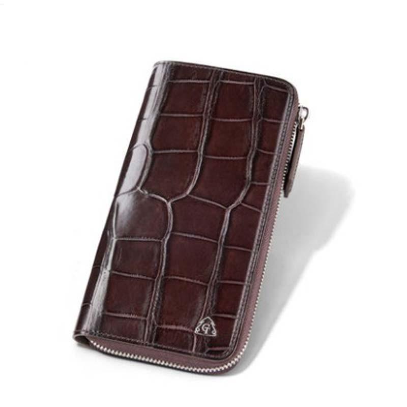 gete  new true Crocodile leather men wallet men's long zipper clutch bag multi-card business wallet America men clutch bag