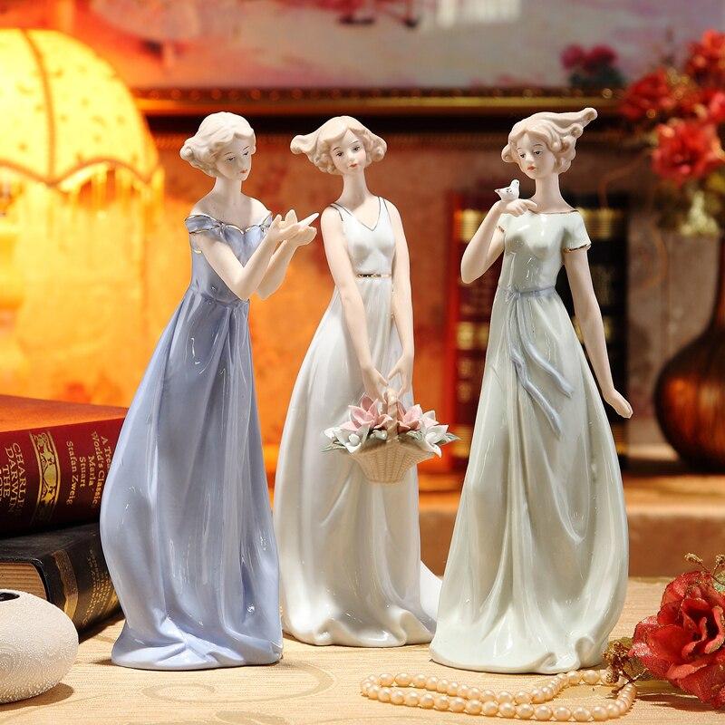 Figura Vintage de porcelana para niña, estatua de cerámica Belle, adornos de belleza en miniatura, accesorios para decoración del hogar, arte coleccionable, artesanía