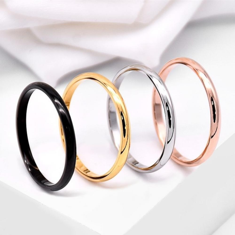 Мужское и женское кольцо из гладкой полированной нержавеющей стали, ультратонкое ювелирное украшение для свадьбы и вечеринки, цвет черный, ...